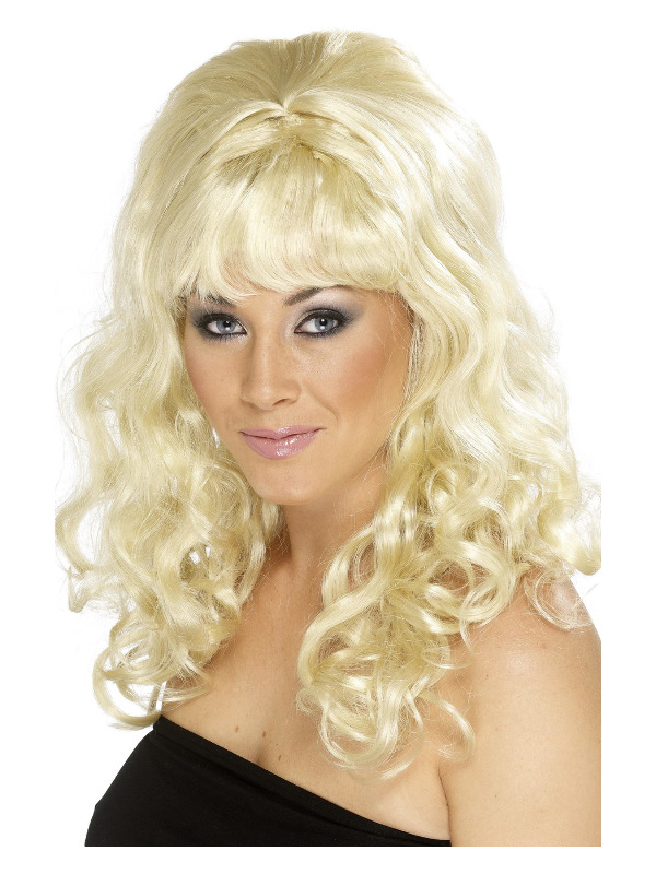 Beehive Beauty Wig, Blonde, with Curls
