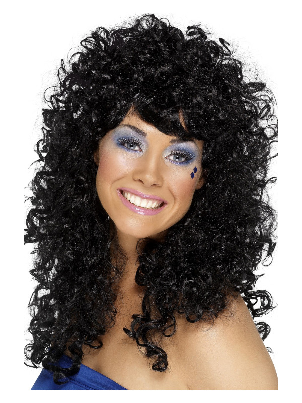 Boogie Babe Wig, Black, Long, Curly
