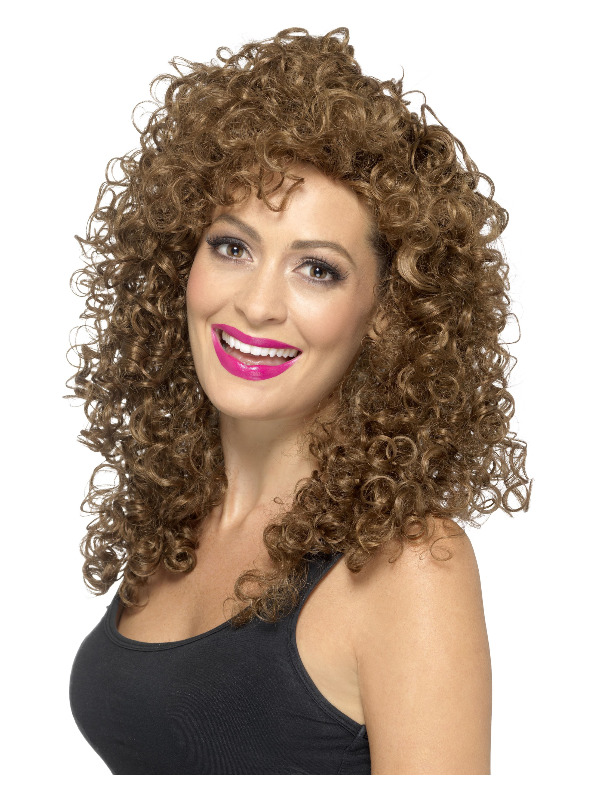 Boogie Babe Wig, Brown, Long, Curly