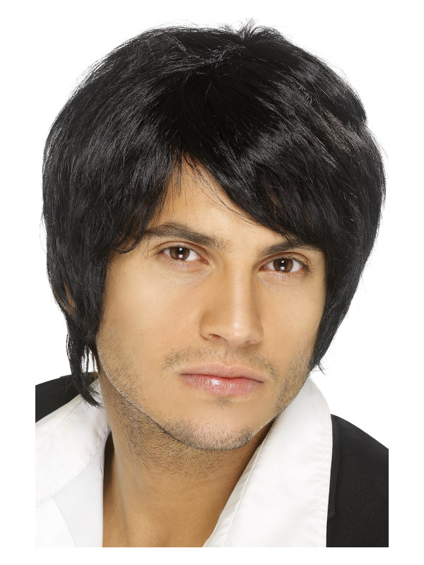 Boy Band Wig, Black, Short Style