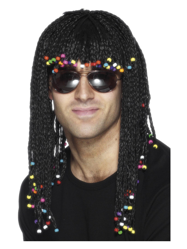 Braided Wig, Black, with Beads