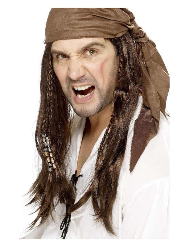 Buccaneer Pirate Wig, Brown, Straight with Braids, with Bandana