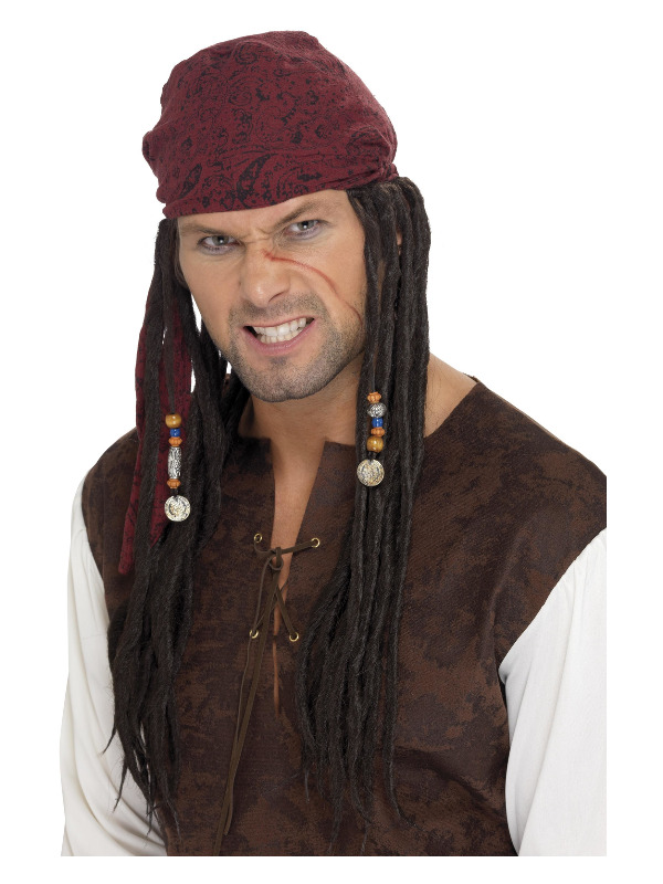 Pirate Wig & Scarf, Brown, with Plaits