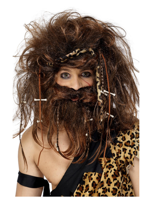 Crazy Caveman Set, Brown, with Wig, Beard, Headband, Bones & Braids