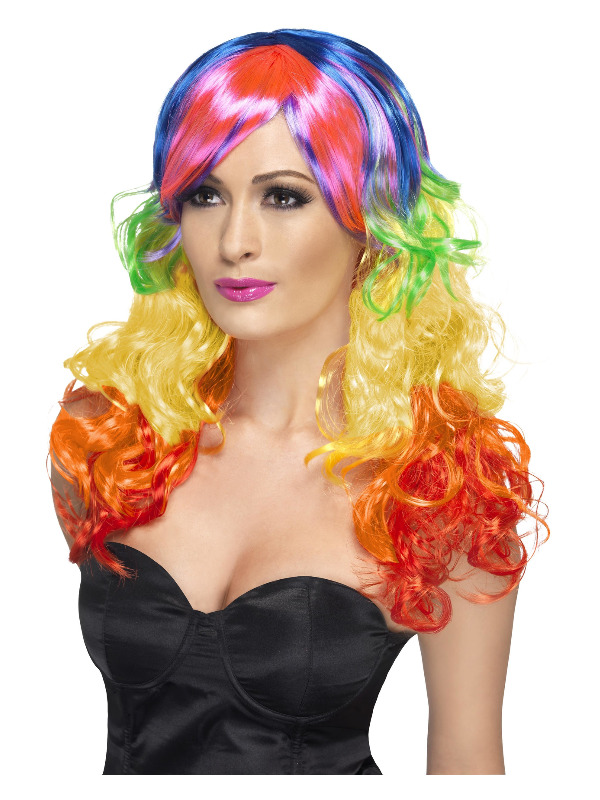 Rainbow Curl Wig, Multi-Coloured, Long, with Fringe