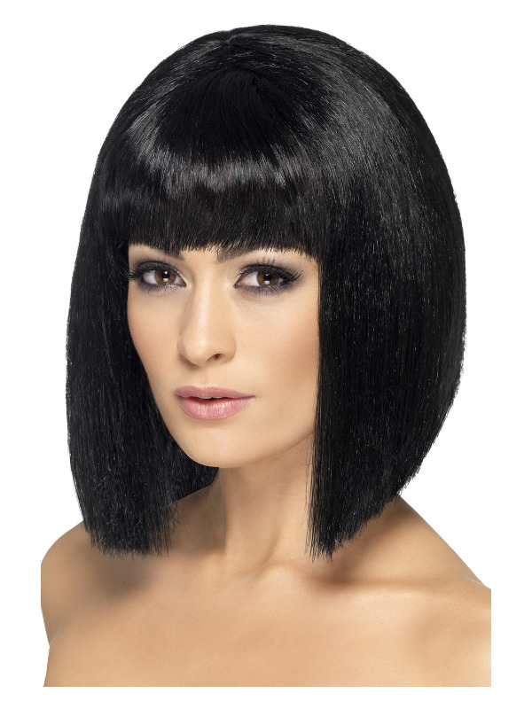 Coquette Wig, Black, Short with Fringe