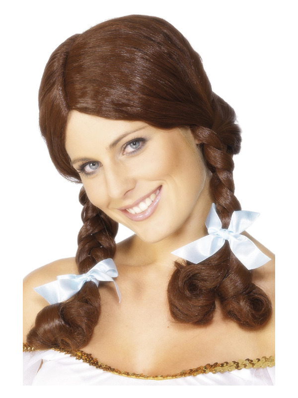 Country Girl Wig, Brown, Plaited