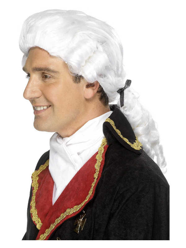 Court Wig, White, with Black Ribbon and Ringlets