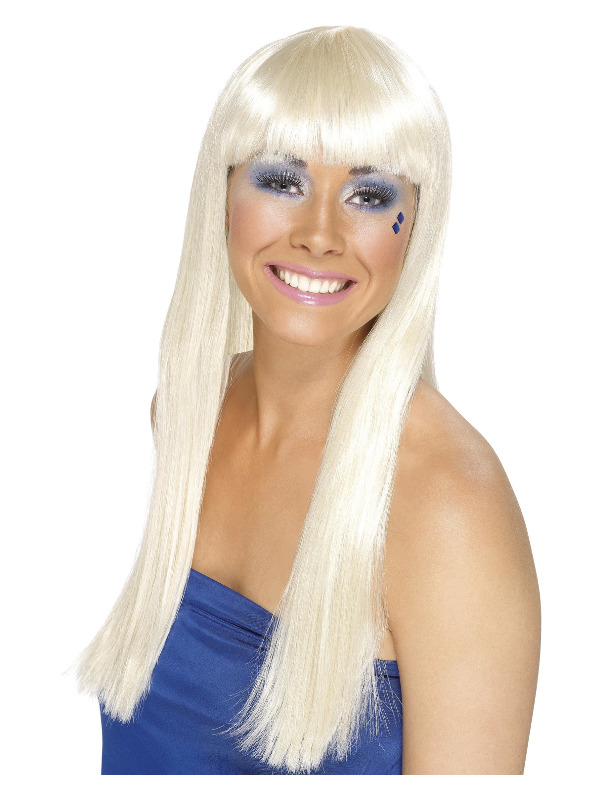70/'s Instant Kit Long Curly Blonde Wig /& Sliver Microphone Disco Fancy Dress