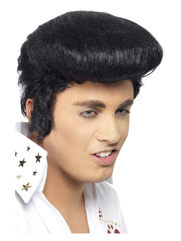 Elvis Deluxe Wig, Black, with High Quiff & Sideburns