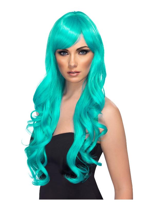 Desire Wig, Aqua, Long, Curly with Fringe