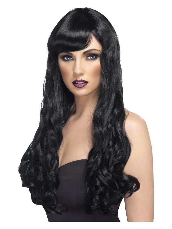 Desire Wig, Black, Long, Curly with Fringe