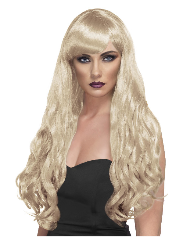Desire Wig, Blonde, Long, Curly with Fringe