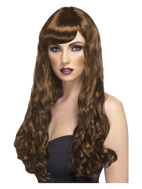 Desire Wig, Brown, Long, Curly with Fringe