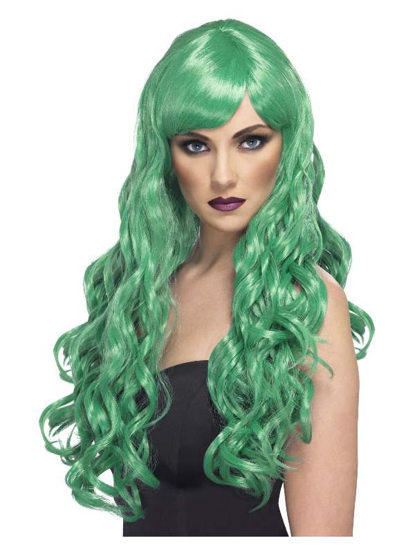 Desire Wig, Green, Long, Curly with Fringe