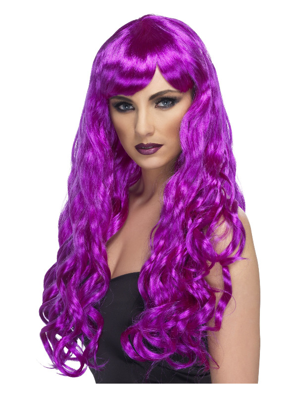 Desire Wig, Purple, Long, Curly with Fringe
