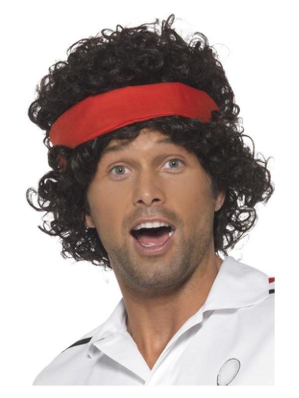 Eighties Tennis Player Wig, Brown, with Headband