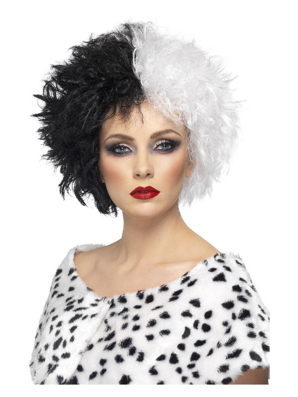 Evil Madame Wig, Black & White, Short, Curly