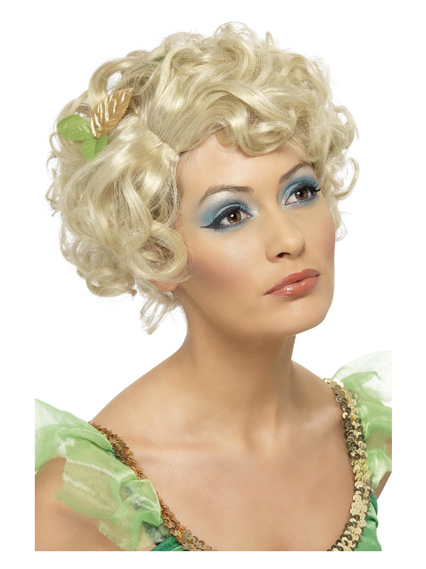 Fairy Wig, Blonde, Short and Wavy, with Flower