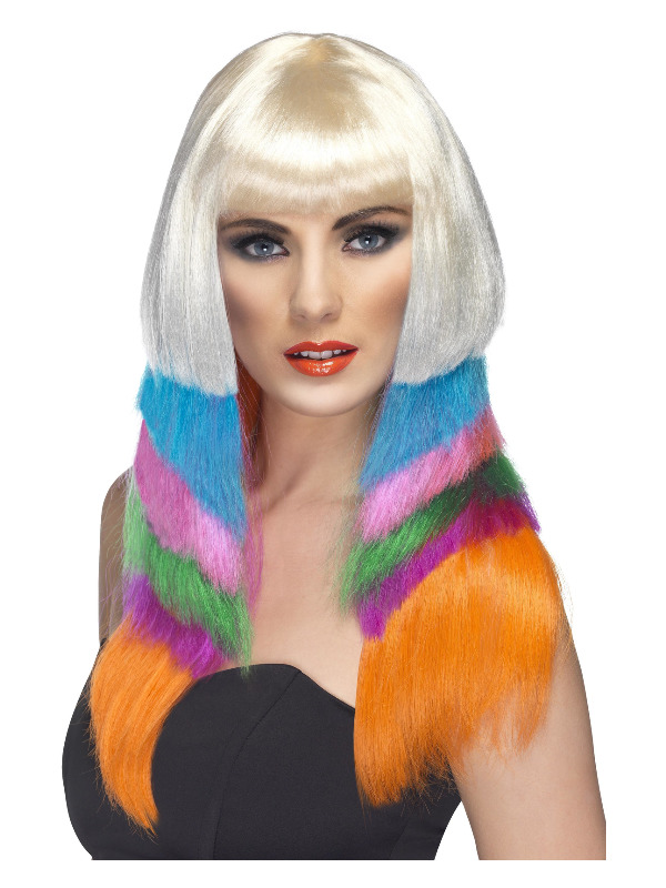 Neon Starlet Wig, Multi-Coloured, Layered