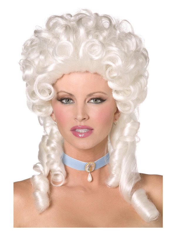 Baroque Wig, White, Shoulder Length with Ringlet Curls