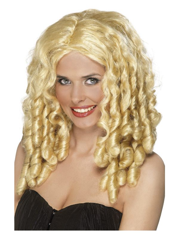 Film Star Wig, Blonde, Long with Spiral Curls