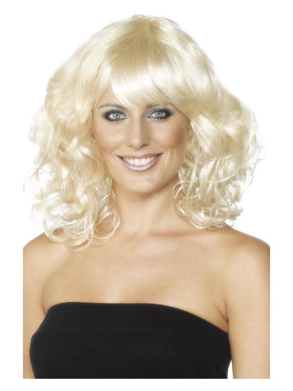 Foxy Wig, Blonde, Mid Length, Wavy