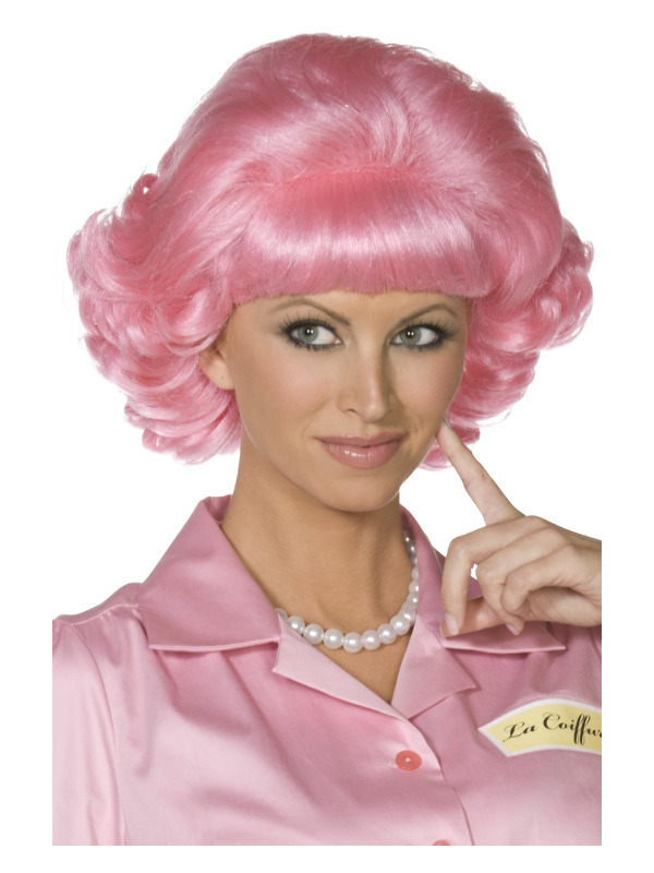 Grease Frenchy Wig, Pink, Short Curly