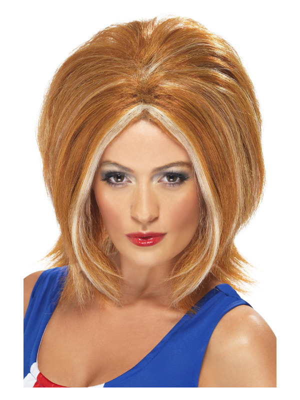 Girl Power Wig, Ginger, with Blonde Streaks