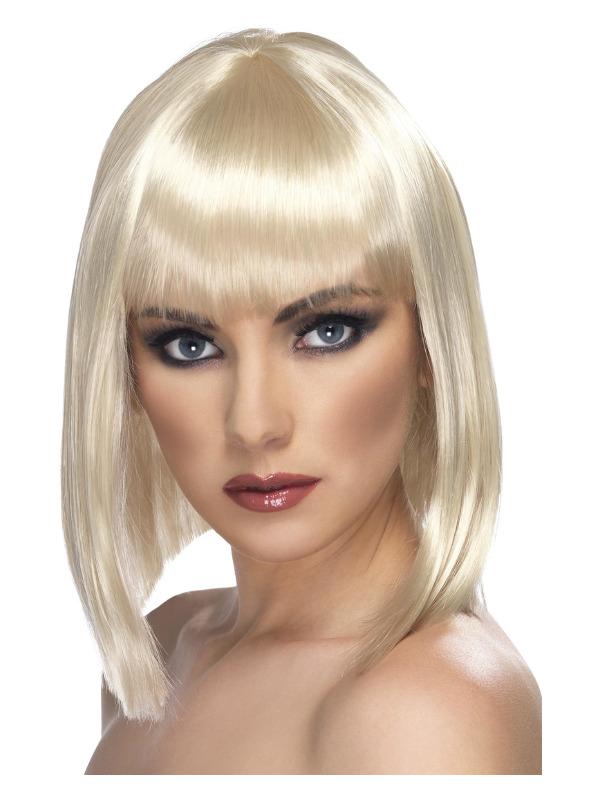 Glam Wig, Blonde, Short, Blunt with Fringe