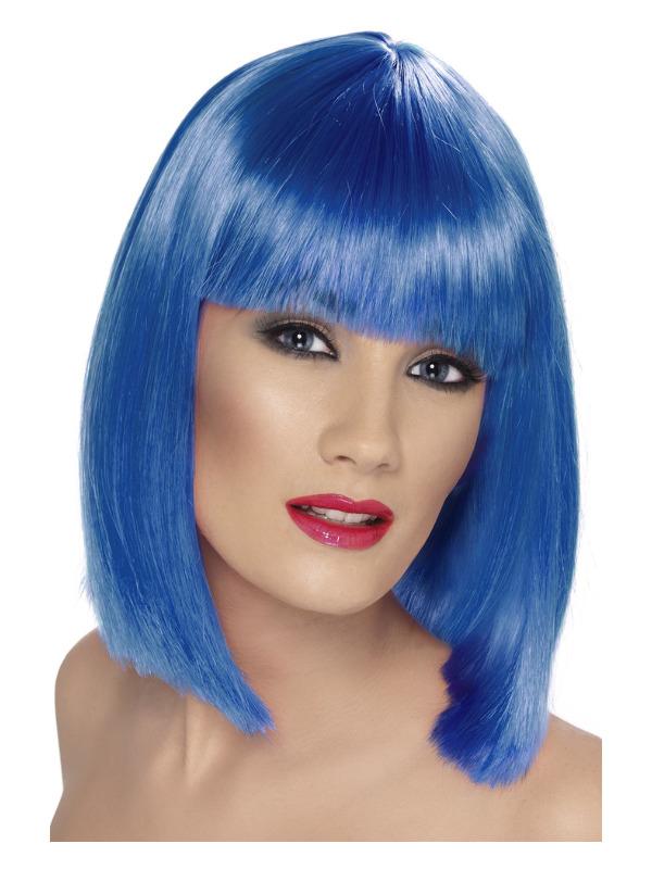 Glam Wig, Blue, Short, Blunt with Fringe