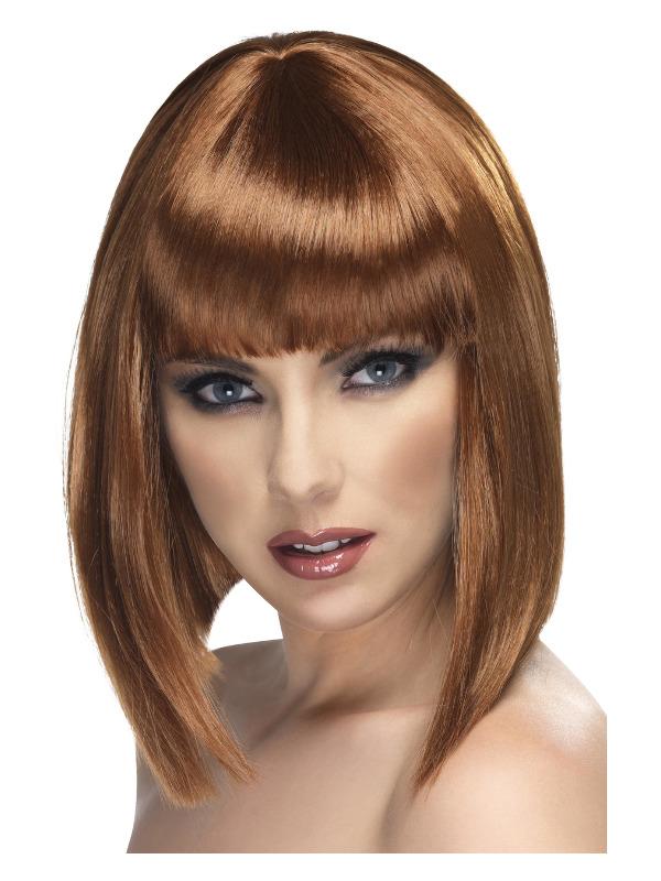 Glam Wig, Brown, Short, Blunt with Fringe