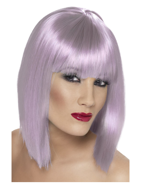 Glam Wig, Lilac, Short, Blunt with Fringe