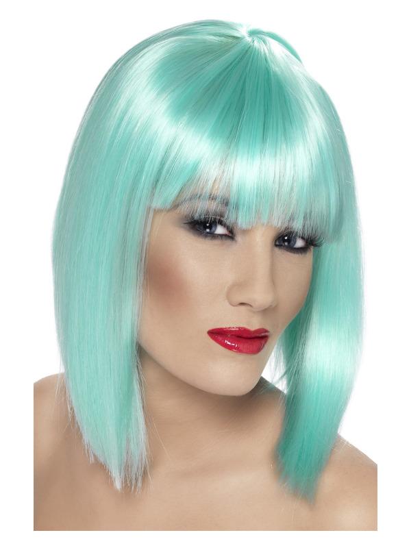 Glam Wig, Neon Aqua, Short, Blunt with Fringe