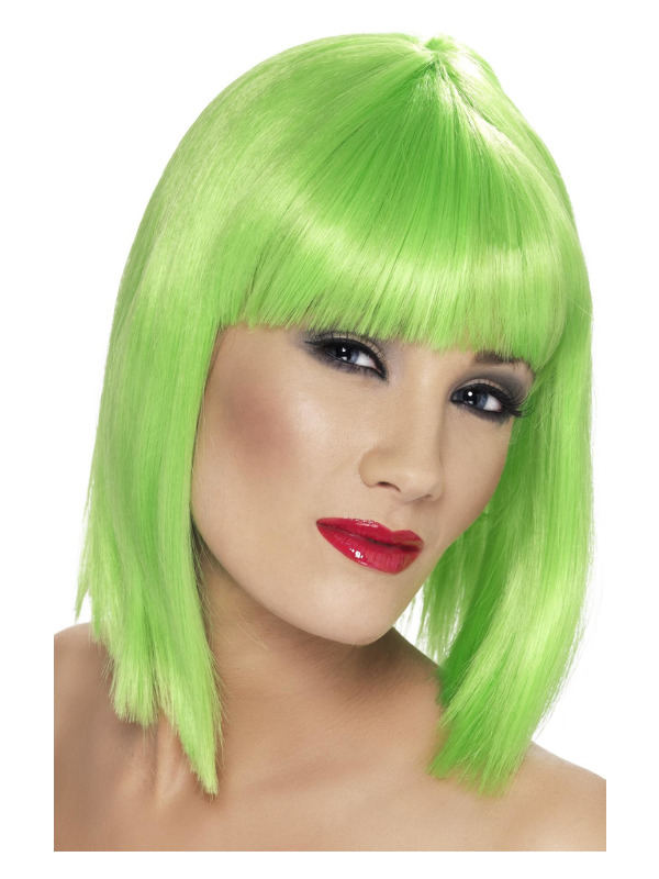 Glam Wig, Neon Green, Short, Blunt with Fringe