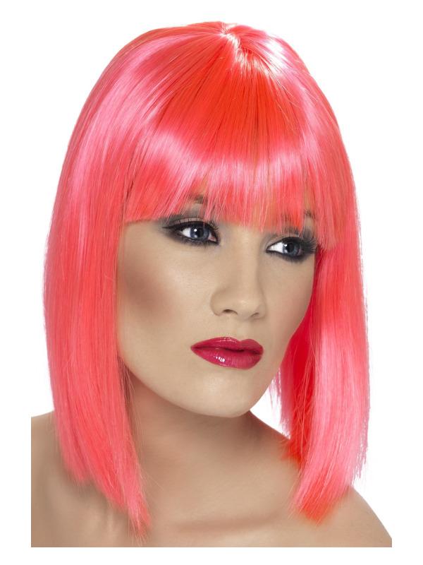 Glam Wig, Neon Pink, Short, Blunt with Fringe