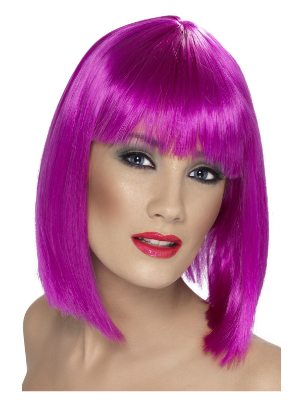 Glam Wig, Neon Purple, Short, Blunt with Fringe