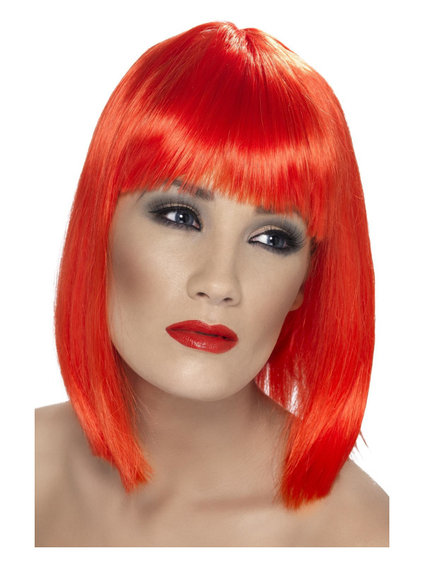 Glam Wig, Neon Red, Short, Blunt with Fringe