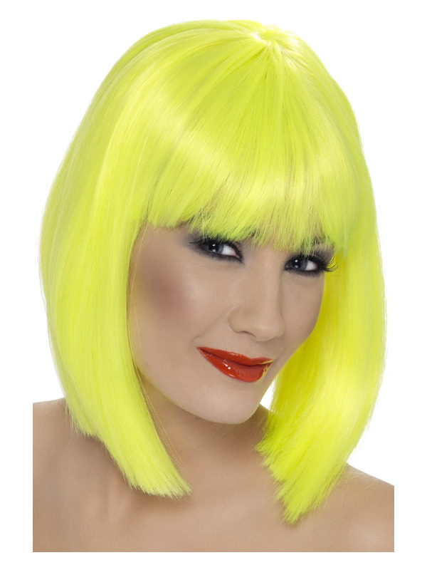 Glam Wig, Neon Yellow, Short, Blunt with Fringe