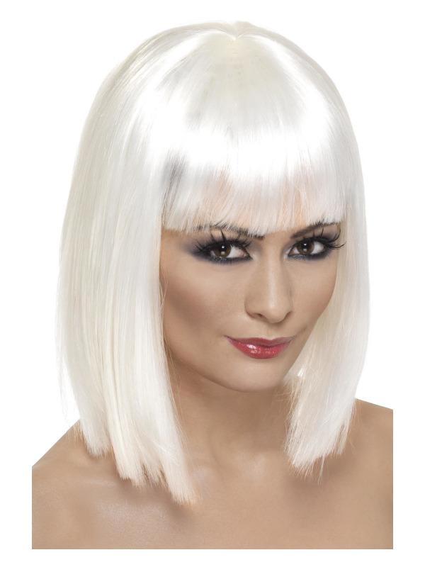 Glam Wig, White, Short, Blunt with Fringe