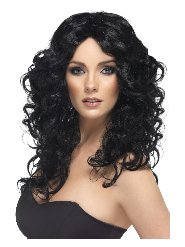 Glamour Wig, Black, Long, Curly