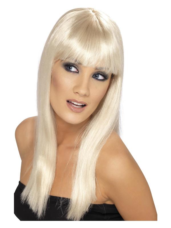 Glamourama Wig, Blonde, Long, Straight with Fringe