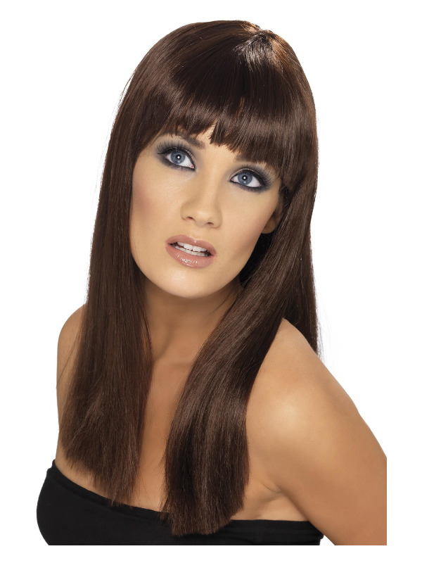 Glamourama Wig, Brown, Long, Straight with Fringe