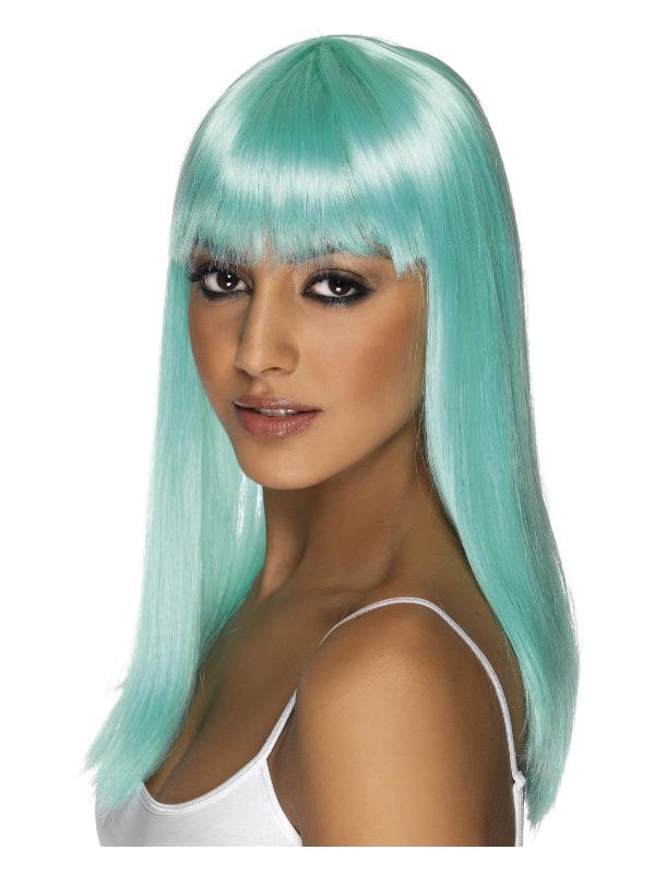 Glamourama Wig, Neon Aqua, Long, Straight with Fringe