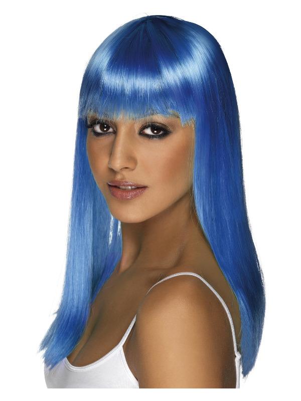 Glamourama Wig, Neon Blue, Long, Straight with Fringe
