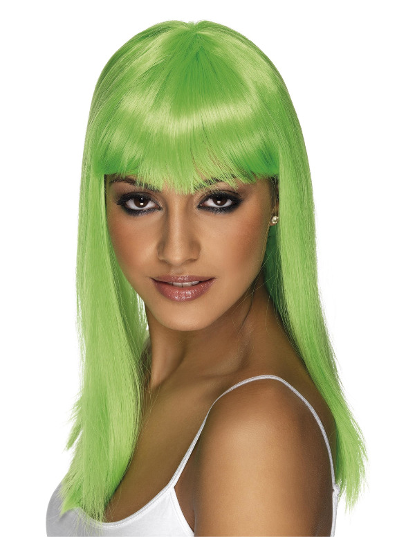 Glamourama Wig, Neon Green, Long, Straight with Fringe