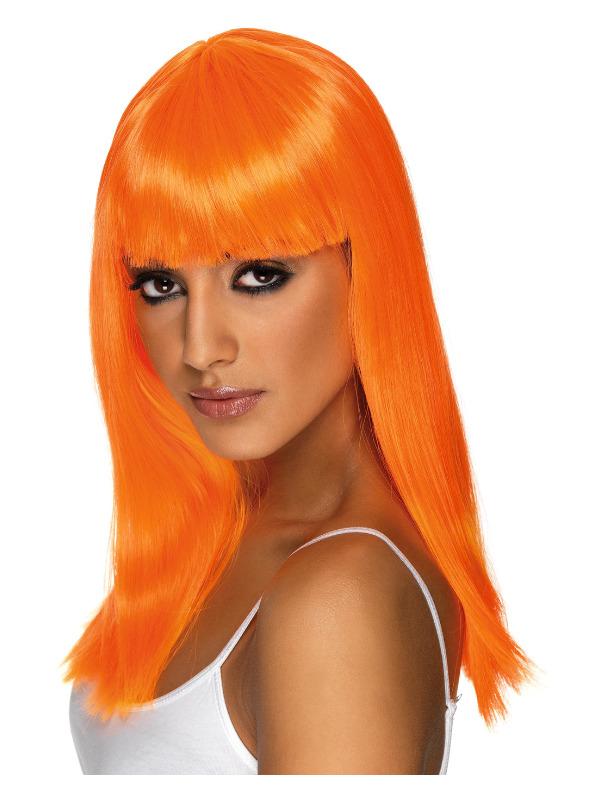 Glamourama Wig, Neon Orange, Long, Straight with Fringe