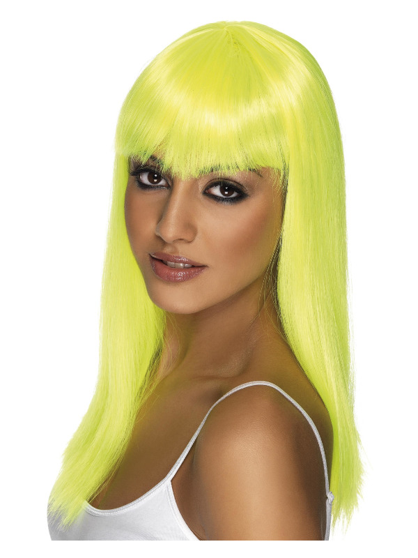 Glamourama Wig, Neon Yellow, Long, Straight with Fringe