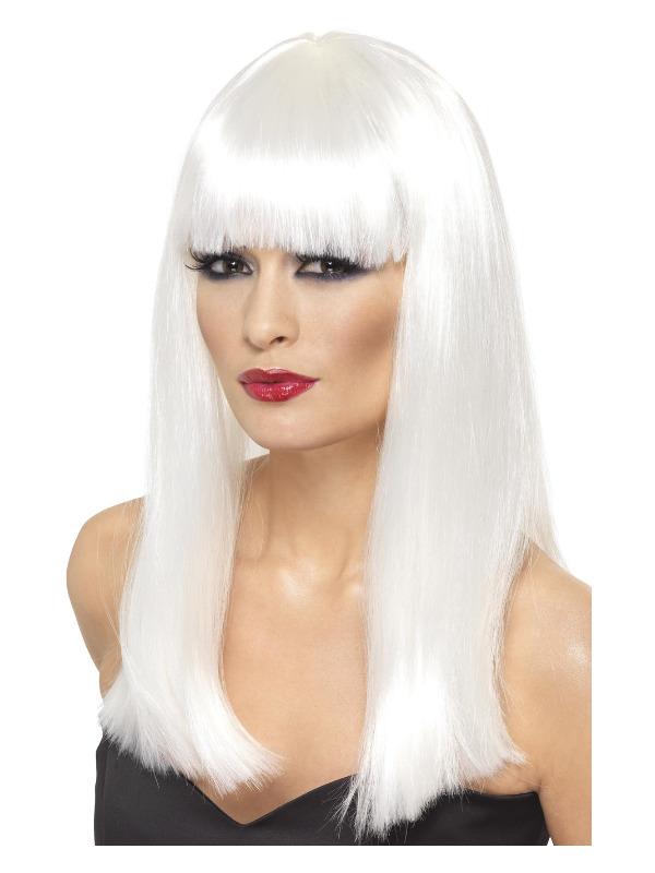 Glamourama Wig, White, Long Straight with Fringe