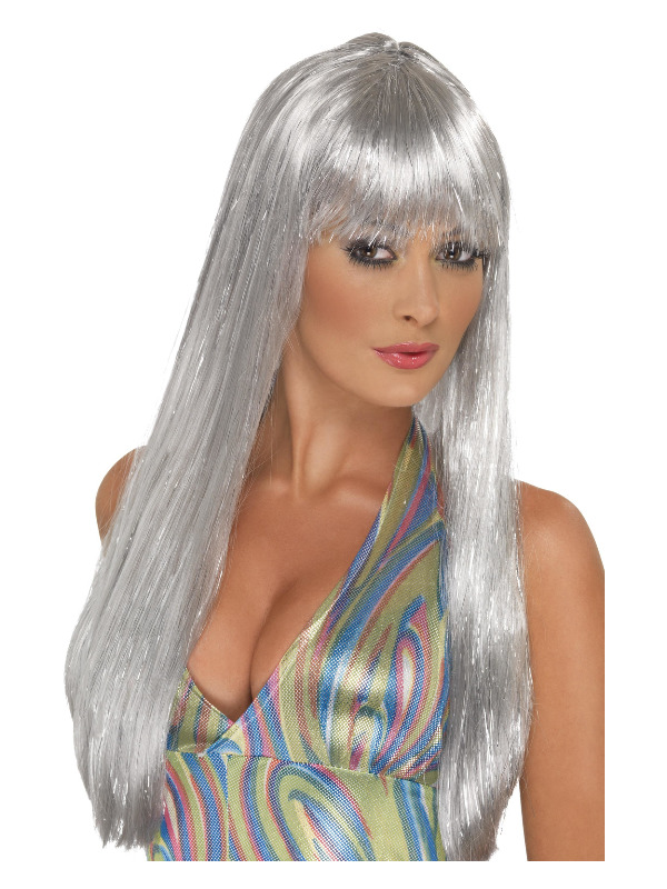 Glitter Disco Wig, Silver, Long Straight with Fringe
